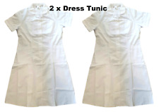 2 x Healthcare Ladies Uniform Nurse Carer White Tunic Dress Size UK 16/ 18