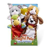 Melissa & Doug Kids Playful Pets Soft Plush Hand Puppets - Set of 4