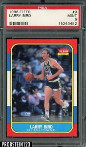 1986 Fleer Basketball #9 Larry Bird Boston Celtics HOF PSA 9 MINT