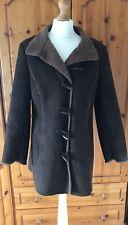Faux Sheepskin Coat Sz M 12 14 Brown Fleece Lined Retro Boho 90s Autumn Per Una