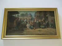 ANTIQUE IMPRESSIONIST PAINTING 19TH CENTURY LANDSCAPE FRENCH STREET SCENE LISTED