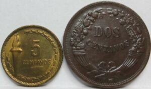 PERU lot 2x 2 & 5 centavos 1941 1954 AU / UNC Mariscal Castillo #C79