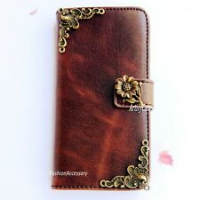 Sunflower phone wallet case Handmade Victorian stand cover For HTC one M8 A9 M9