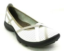Clarks Privo Womens Size 5.5 Slip On Comfort Ballet Shoe Loafer  White Leather