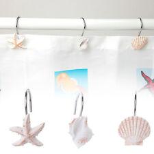 12Pcs Bathroom Decorative Seashell Shower Curtain Hooks Window Hangings Holder