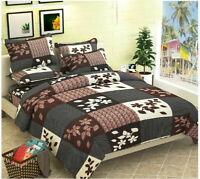 Indian Microfiber King Size Double Bedsheet with 2 Pillow Covers (Multi color)