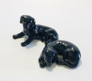 Orchid Salt & Pepper Shakers Dogs Lying Down Black Serving Tableware