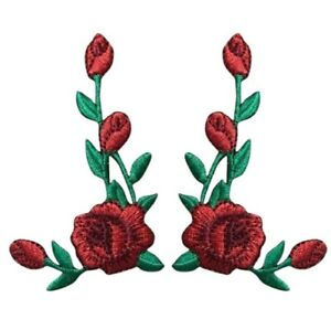 """Red Rose Applique Patch Set - Flower Bloom Badge 2-3/8"""" (2-Pack, Iron on)"""
