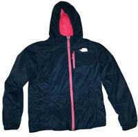 The North Face Girls Reversible Rain Jacket Coat Size M Medium 10-12 Pink/Blue