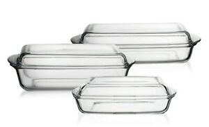 Casserole Dish Glass with Lid Roaster Microwave Stove Chef Dishes Oven-Proof Ob