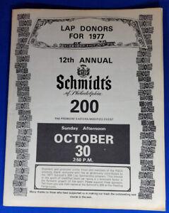 VINTAGE 1977 12th ANNUAL Schmidt of philadelphia 200  PROGRAM 14 pages no marks
