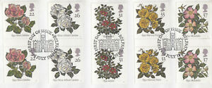 (11594) GB Used GUTTER PAIRS Roses 1991 ON PIECE
