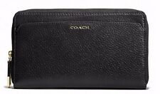 NWT COACH MADISON LEATHER CONTINENTAL ZIP AROUND WALLET LIGHT GOLD BLACK F50254