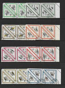 1952 Hungary AIR Birds marginal Blocks of 4 SG1224-1234 VFU