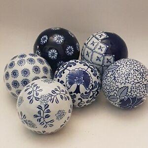 Set Of 6 Blue And White Decorative China Balls Medium Sized Carpet Balls
