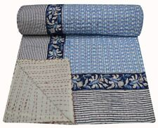 Indian Hand Block Print Ikat Kantha Quilt Throws Twin Bohe Bedding Bedspread