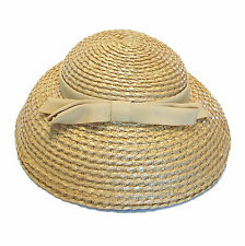 PIKO - Paris | New York - Vintage Straw Hat with Grosgrain Ribbon - Circa 1950's