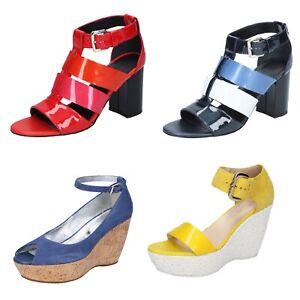 HOGAN scarpe donna sandali blu rosso giallo vernice camoscio