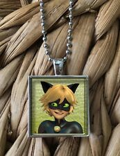 Miraculous Ladybug Chat Noir Glass Pendant Silver Chain Necklace NEW