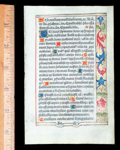 PARIS ILLUMINATED  BOOK OF HOURS  LEAF, ON VELLUM - PSALMS,  c 1532 FRANCE