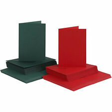 A6 Red or Green Cards and Envelopes Blanks for Card Making Christmas 240gsm