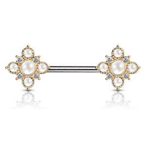 PAIR Pearl & Crystal Paved Flower Ends Nipple Rings Shields Vintage Barbells