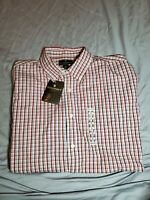 Steve & Barry's Men's Plaid dress Shirt Size LARGE 16.5 NWT  blue red white