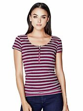 GUESS T-Shirt Women's Slim Fit Stretch Scoop Zip Stripe Tee Top XS Pink Grey NWT