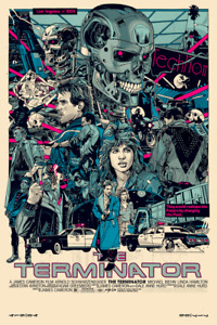 The Terminator Alternative Movie Poster Art Mondo Artist Tyler Stout + Stickers