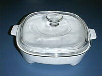 """CORNING WARE Microwave 9"""" WHITE Browning Dish MW-9-B with PYREX Glass Lid A-9-C"""