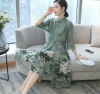 Chinese Style Women Dresses Floral Silk Long Style Round Collar 3/4 Sleeves New