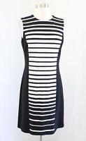 J McLaughlin Black Off White Ombre Striped Panel Knit Shift Dress Size S