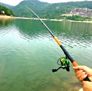 Telescopic Fishing Pole Rod Tackle Spinning Carbon Fiber Hard Fast Portable Carp
