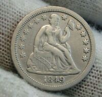 1849 Seated Liberty Dime, 10 Cents.. Key Date Only 839,000 Minted..  Nice (9656)