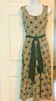 EFFIE'S HEART Women's Louvre Dress - Sleeveless Floral in Clover w/ Black Belt S