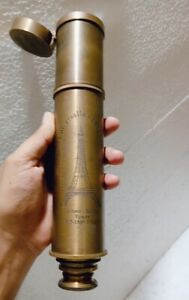 Brass Telescope Engrave Paris Effil Tower Nautical vintage Brown Antique