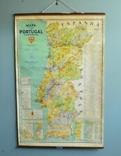 "Vintage antique early 1941 Pull Down SCHOOL chart wall PORTUGAL MAP 50.5""x32"" -e"