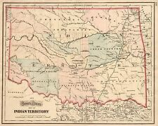 1872 Indian Territory ~ Oklahoma Map Print 18x24