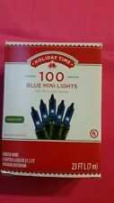 HOLIDAY Autism 100 BLUE MINI LIGHTS GREEN WIRE STRING CHRISTMAS INDOOR OUTDOOR