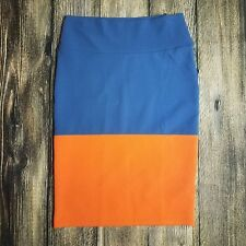 Lularoe Cassie Medium M Skirt Solid Color Block Teal Orange Beautiful