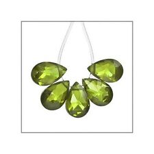 10x Cubic Zirconia Flat Pear Briolette Beads 4x6mm Olive Green #64845