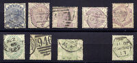 "GB 1883/4 QV Definitives ""Lilac & Greens"" 1/2D - 1Sh. (no 9D), VFU GBP 1,240.-"