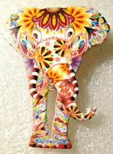 Elephant Pachyderm Large White Floral Multicolor Acrylic Pin Brooch Jewelry