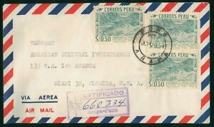 Mayfairstamps Peru to US Certified Airmail cover wwo1613