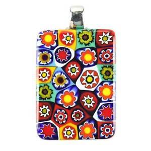 GlassOfVenice Murano Glass Millefiori Pendant Rectangular - Multicolor