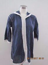 Moroccan Caftan Women's Tunic Indigo Blue  Linen Comfortable In Summer Size PS