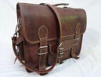 Real Brown Leather Briefcase Messenger Bag 15 Inch Laptop Satchel Shoulder Bag