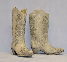 D0 CORRAL Leather Glitter Inlay Crystals Western Wedding Boot Shoes Sz 10 M $389
