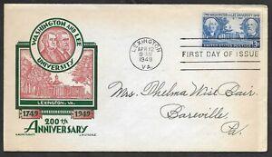 Mr B's US 1949 200th Anniversary of Washington & Lee Universtiy - FDC Free Ship!