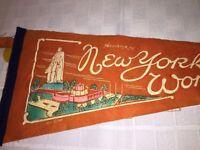 1939 1940  New York Worlds Fair Pennant Rare